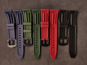 Premium Basic Green Rubber Strap with Quick Release Springbar (Black PVD Buckle)