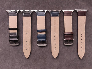 Genuine Blue Leather Apple Strap with leather backing