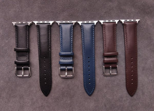 Genuine Black Leather Apple Strap with leather backing