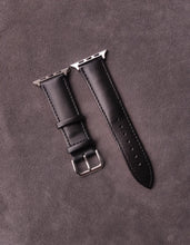 Load image into Gallery viewer, Genuine Black Leather Apple Strap with leather backing