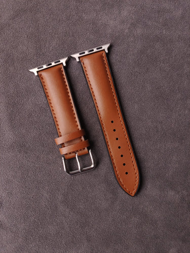 Genuine Brown Calf Leather with Black Rubber base for Apple Strap