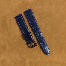 Load image into Gallery viewer, #19 18mm/16mm Deep Sea Blue Crocodile Belly with Blue stitch Leather Strap