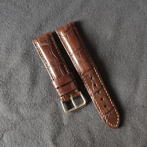 #23 22mm/20mm Brown Crocodile Belly with Brown Stitch Leather Strap