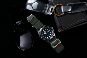 WRISKY Elastic Military Strap (Olive-Red Stripe) - Wrisky.co