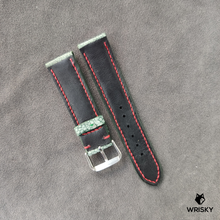 Load image into Gallery viewer, #43 22/20mm Green Nuback Washed Out Ostrich Leg Leather Watch Strap With Red Stitch