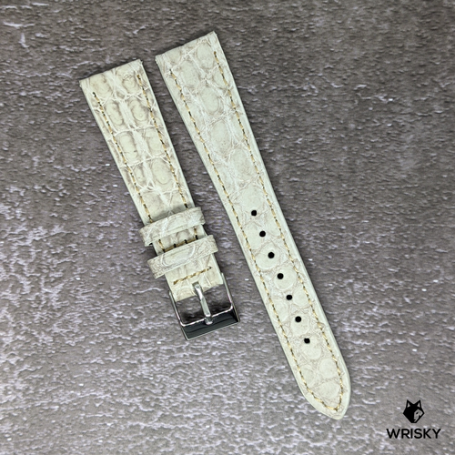 #140 20/16mm Himalayan Crocodile Belly Strap with White Stitch