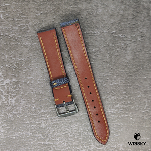 #86 18/16mm Washed Out Nuback Grey Ostrich Leg Leather Watch Strap With Orange Stitch