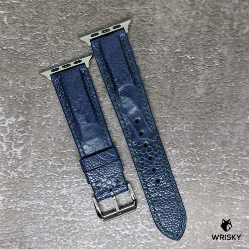 #233 (Suitable for Apple Watch) Deep Sea Blue Ostrich Leg Leather Watch Strap with Green Stitch