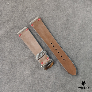 #40 20/18mm Ash Grey Nuback Ostrich Leg Leather Watch Strap With Red Vintage Stitch