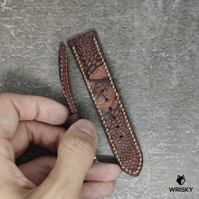 Load image into Gallery viewer, #87 22/20mm Copper Brown Nuback Ostrich Leg Leather Watch Strap With Cream Stitch