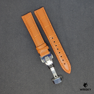 Cognac Genuine Leather with Crocodile Embossing and Silver Butterfly Clasp