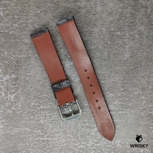 Load image into Gallery viewer, #84 18/16mm Washed Out Nuback Graphite Ostrich Leg Leather Watch Strap With No Stitch