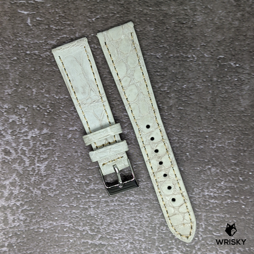 #139 20/16mm Himalayan Crocodile Belly Strap with White Stitch