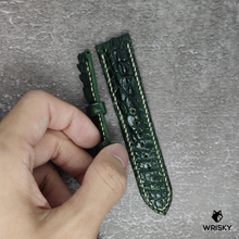 Load image into Gallery viewer, #112 22/20mm Dark Green Hornback Crocodile with Cream stitch