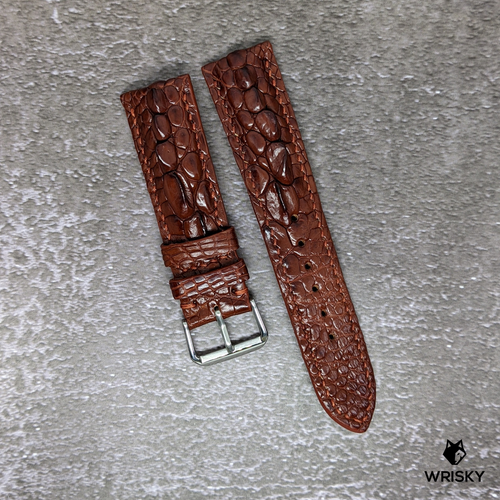 #170 20/18mm Copper Brown Hornback Crocodile with Copper Stitches Leather Watch Strap