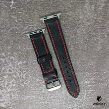 Load image into Gallery viewer, #145 (Apple Watch) Black Vegetable Tan Leather Strap with Red Contrast Stitch