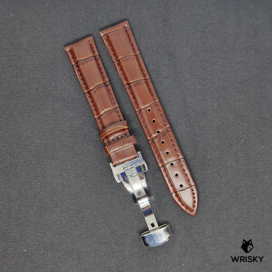 Dark Brown Genuine Leather with Crocodile Embossing and Butterfly Clasp