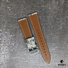 Load image into Gallery viewer, #237 22/18mm White Himalayan Crocodile Leather Watch Strap With Cream Stitches
