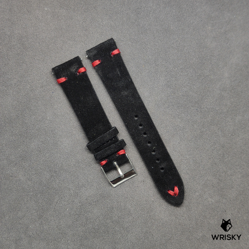 Black Suede Leather Strap with Red Vintage Stitch (Quick Release Strap Bar)