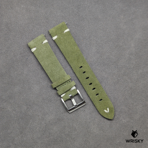 Green Suede Leather Strap with White Vintage Stitch (Quick Release Strap Bar)
