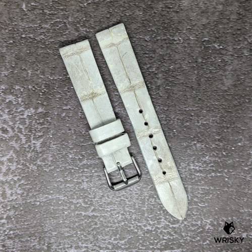 #175 18/16mm White Himalayan Crocodile Belly Leather Watch Strap
