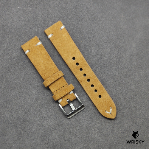 Brown Suede Leather Strap with White Vintage Stitch (Quick Release Strap Bar)
