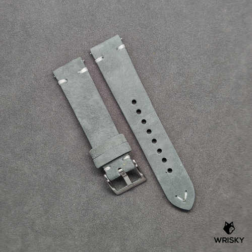 Grey Suede Leather Strap with White Vintage Stitch (Quick Release Strap Bar)