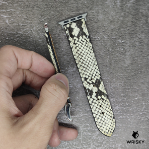 #89 (Apple Watch) White Python Leather Strap with white stitch