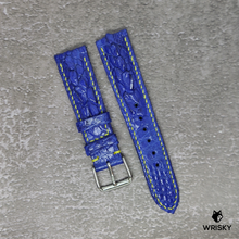 Load image into Gallery viewer, #124 20/18mm Royal Blue Hornback Crocodile with Yellow stitch