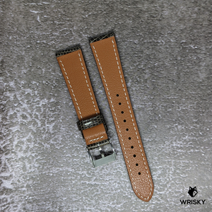 #238 20/16mm Brown Lizard Leather Watch Strap with White Stitch