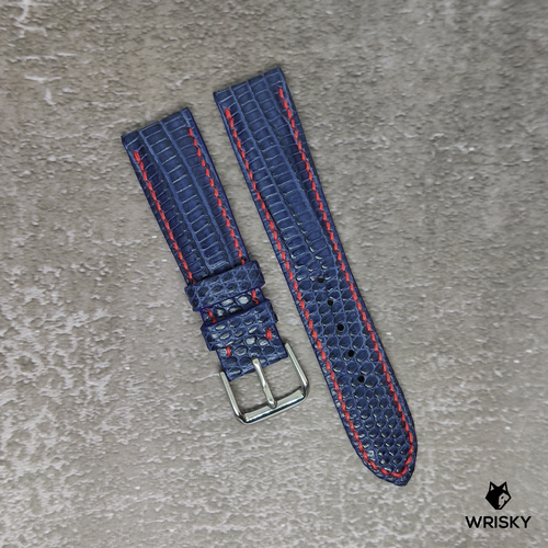 #108 20/18mm Deep Sea Blue French Lizard Watch Strap With Red Contrast Stitch
