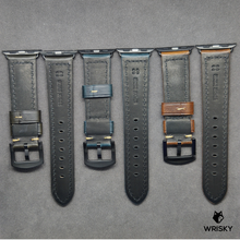 Load image into Gallery viewer, Apple Watch Italian Oil Waxed Leather Strap in Blue (Black Buckle)
