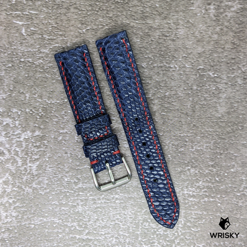 #162 20/18mm Deep Sea Blue French Lizard Watch Strap With Red Contrast Stitch