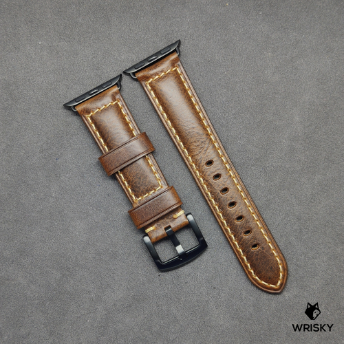 Apple Watch Italian Oil Waxed Leather Strap in Brown (Black Buckle)