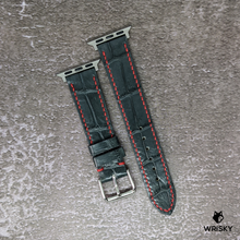 Load image into Gallery viewer, #147 (Apple Watch) Gun Metal Grey Crocodile Belly Watch Strap With Red Contrast Stitch