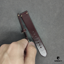 Load image into Gallery viewer, #59 20/18mm Dark Brown Shell Cordovan Strap with Cream Vintage Stitch