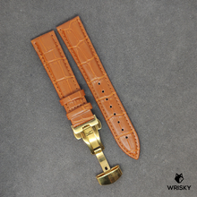 Load image into Gallery viewer, Cognac Genuine Leather with Crocodile Embossing and Gold Butterfly Clasp