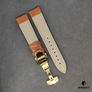 Cognac Genuine Leather with Crocodile Embossing and Gold Butterfly Clasp