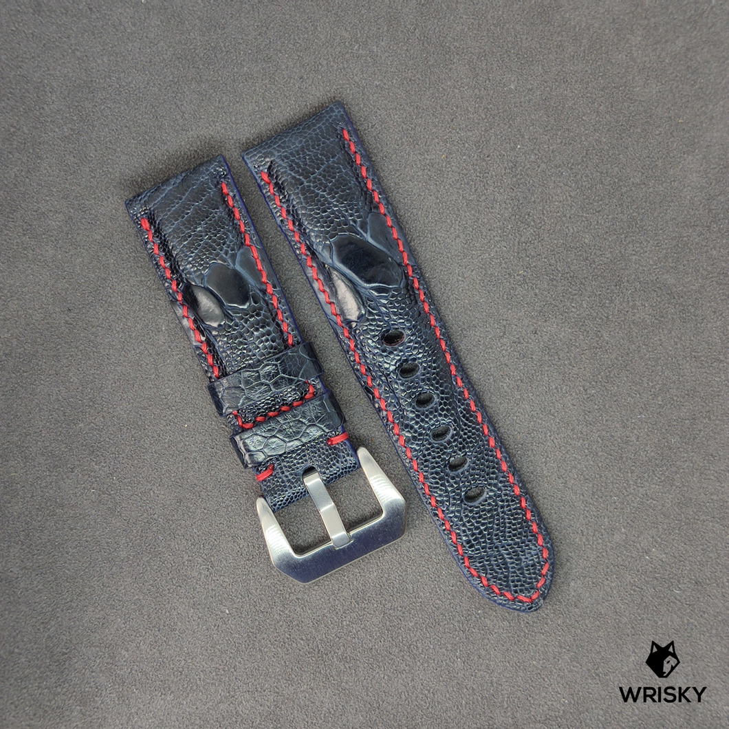 #7 24mm/22mm Deep Ocean Blue Ostrich Leg Leather Watch Strap With Red Contrast Stitch and Panerai Styled Buckle