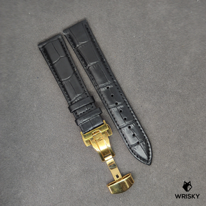 Black Genuine Leather with Crocodile Embossing and Gold Butterfly Clasp