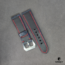 Load image into Gallery viewer, #7 24mm/22mm Deep Ocean Blue Ostrich Leg Leather Watch Strap With Red Contrast Stitch and Panerai Styled Buckle