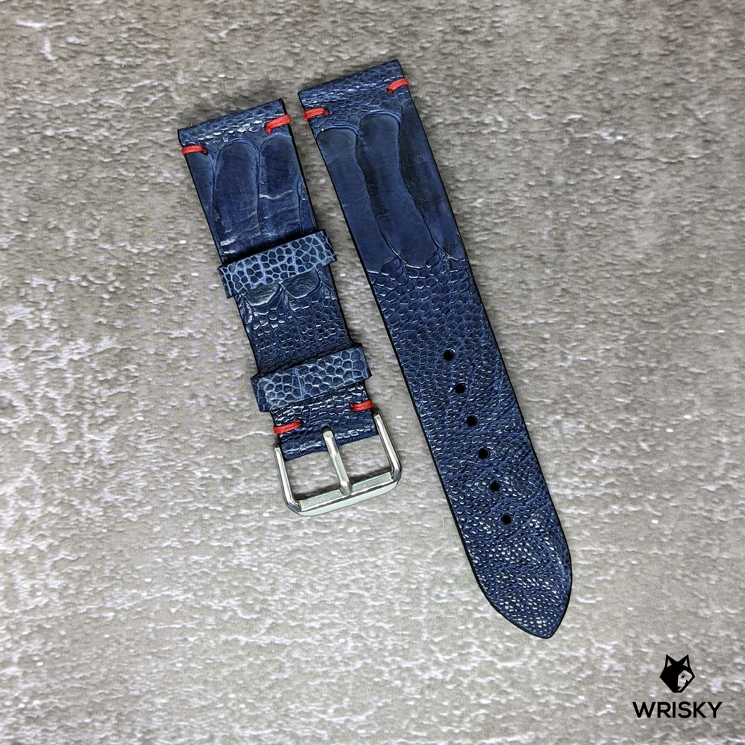 #150 22/20mm Deep Sea Blue Ostrich Leg Leather Watch Strap With Red Vintage Stitch