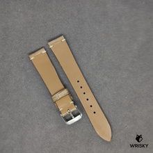 Load image into Gallery viewer, #64 18/16mm Light Brown Crocodile (Big Grains) with Cream Vintage Stitch Leather Strap