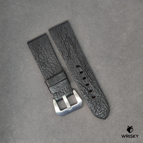 #6 24mm/22mm Black Shark Leather Watch Strap in Panerai Styled Buckle