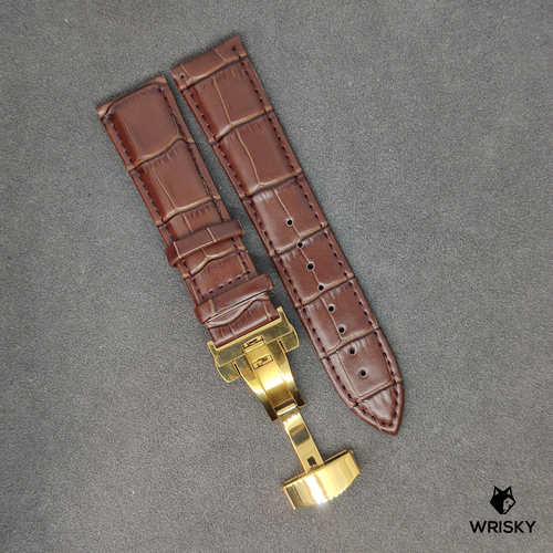 Dark Brown Genuine Leather with Crocodile Embossing and Gold Butterfly Clasp