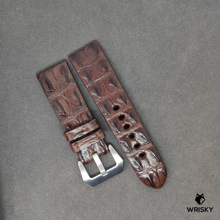 Load image into Gallery viewer, #3  24mm/22mm Brown Double Horned Back Crocodile Leather Watch Strap