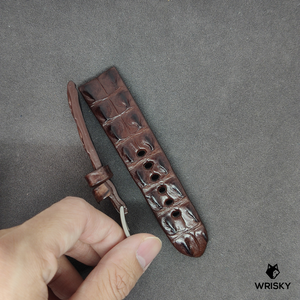 #3  24mm/22mm Brown Double Horned Back Crocodile Leather Watch Strap