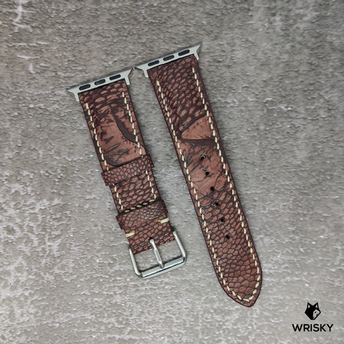 #92 (Apple Watch) Copper Brown Nuback Ostrich Leg Leather Watch Strap With Cream Stitch