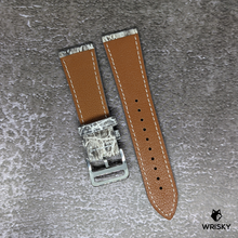 Load image into Gallery viewer, #241 22mm/18mm White Himalayan Crocodile Leather Watch Strap With Cream Stitches