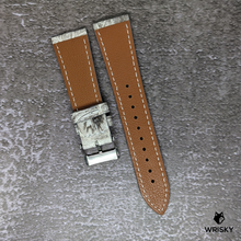 Load image into Gallery viewer, #185 22/18mm White Himalayan Crocodile Belly Leather Watch Strap